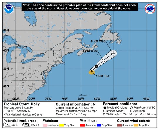 Tropical Storm Dolly (black X) formed in the North Atlantic Ocean on June 23, 2020.