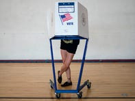 A woman votes at a polling site in Queens during the New York Democratic presidential primary elections on June 23, 2020 in New York City.