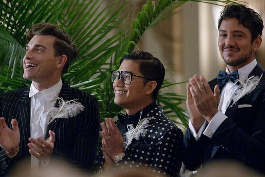 """From left, interior designer Jeremiah Brent, fashion designer Thai Nguyen and chef Gabriele Bertaccini in an episode of """"Say I Do."""""""