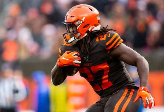 Kareem Hunt appeared in eight games for the Browns in 2019, accounting for three touchdowns.