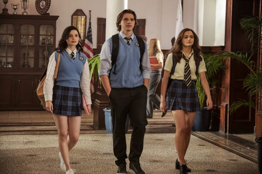 """Joey King, far right, Joel Courtney and  Meganne Young, far left in the sequel to """"The Kissing Booth."""""""