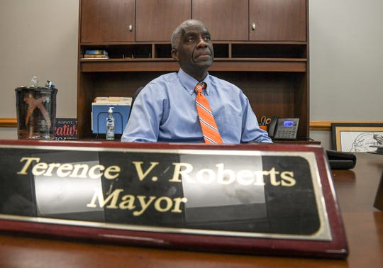 Anderson Mayor Terence Roberts talks about direction city will take during a press conference at City Hall in Anderson Wednesday, June 24, 2020. Orange paint was splattered on the Confederate monument in front of the Anderson County Courthouse in downtown Anderson, S.C. hours  earlier, which was removed with a pressure washing.