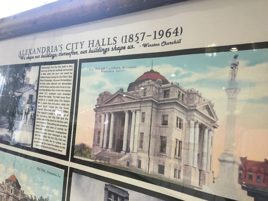 A photo of a former Alexandria City Hall building shows where the Confederate monument sat before it was moved to the Rapides Parish Courthouse in 1962.