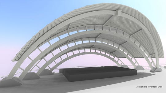Background work necessary for construction of a new band shell cover and other improvements to the Amphitheater located along the Red River in downtown Alexandria continues to progress.