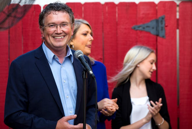 U.S. Representative Thomas Massie claims victory during his campaign party for the Republican primary election for the 4th district of Kentucky between Thomas Massie and Todd McMurtry on Tuesday, June 23, 2020, in Florence, Ky.