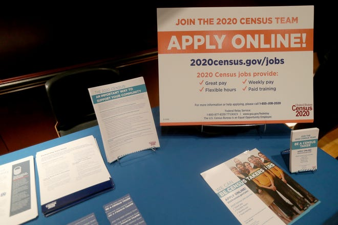 A sample of 2020 Census information Wednesday, November 20, 2019 at the Ford Community & Performing Arts Center in Dearborn, Mich.
