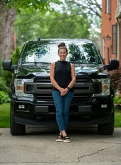 Dana Sturtz stands next to her 2019 Ford F-150 in front of her Huntington Woods home, June 24, 2020.