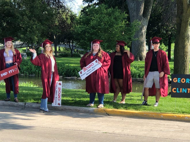 Fond du Lac High School's 2020 graduates line up at Lakeside Park for a parade in their honor.