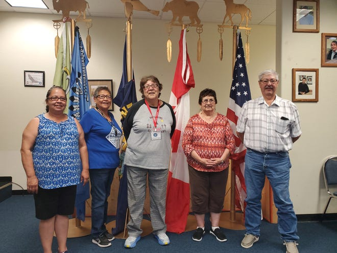 The Blackfeet Election Board. From left to right: Cindy Salway, Karen Davis, Mary Belcourt, Pat Collins and Steve Fenner.
