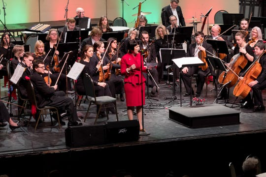 Sherry Freeman, seen here speaking at last year's holiday pops concert, is the executive director of The Jackson Symphony.