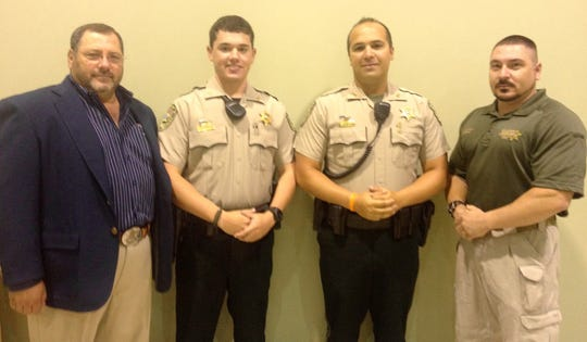 Pictured in this 2013 photo from left are patrol supervisor Lt. Col. Paul Dicapo,  Deputy Andrew Esterly, Deputy Charles Lipps and Training Lt. Leon Boudreaux. Boudreaux was active in the St. Landry Parish Sheriff's training program at the time.