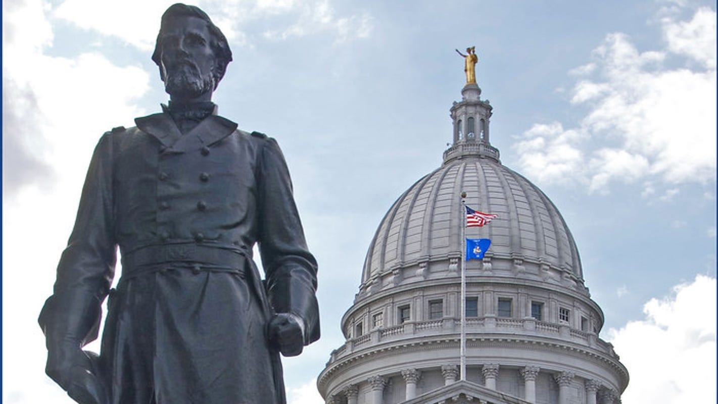 Wisconsin gets federal funds to help restore vandalized Capitol statues Forward and Hans Christian Heg