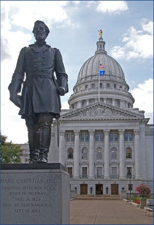 This statue of abolitionist Hans Christian Heg stood in front of the Wisconsin Capitol in Madison since 1925. Protesters toppled it June 23.