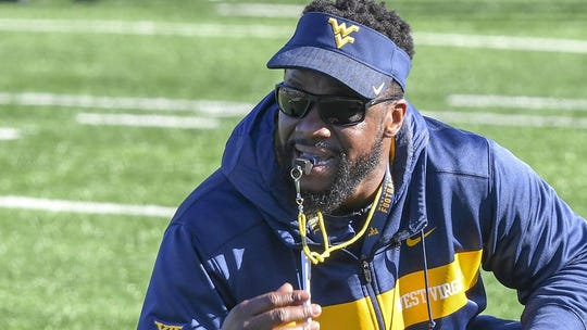 First-year Auburn outside linebackers coach Al Pogue, pictured at West Virginia during the 2019 season.