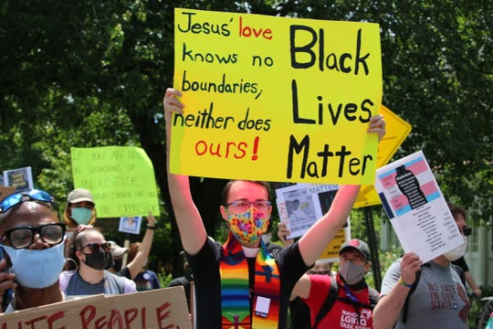 The Rev. Grant Mansfield, Rector at St. George's Episcopal Church, at a BLM protest in New Jersey.
