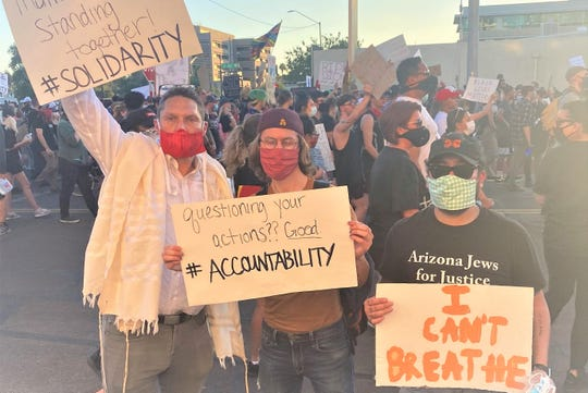 Rabbi Shmuly Yanklowitz at a BLM protest in Arizona