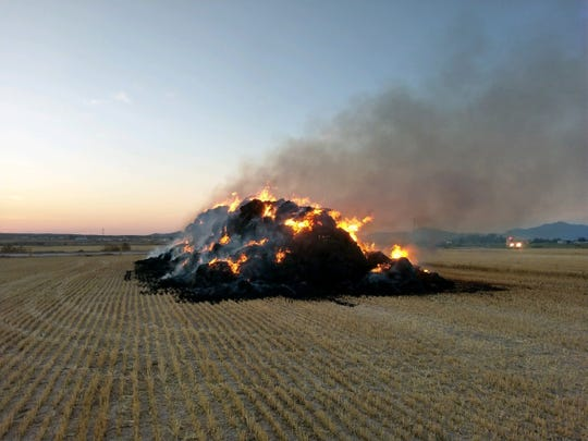 A hay fire near Vado on Wednesday, June 24, 2020, is being treated as a controlled or agricultural burn.