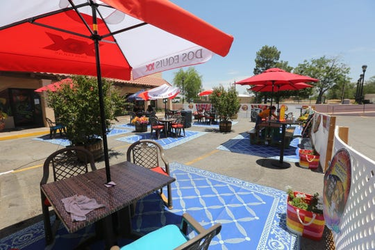 A temporary patio is set up at Andele Restaurant in Mesilla on Wednesday, June 24, 2020.