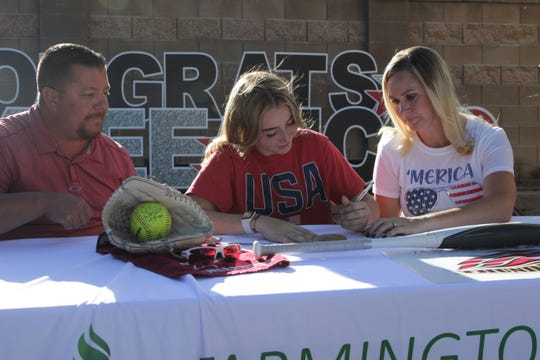 Farmington's Kaylee Stowell signs her National Letter of Intent on Tuesday, June 23, 2020, to continue her softball career at Mesa Community College in Mesa, Arizona.