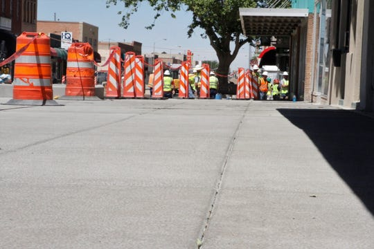 The new sidewalks are pictured, Wednesday, June 24, 2020, in downtown Farmington.