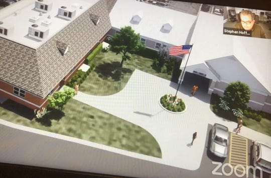 Stephan Hoffman, a Lyon Township planning commissioner, views a rendering of the proposed township hall expansion during a virtual meeting June 22, 2020.