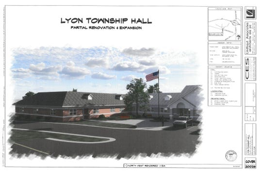 A rendering of the proposed Lyon Township Hall expansion.