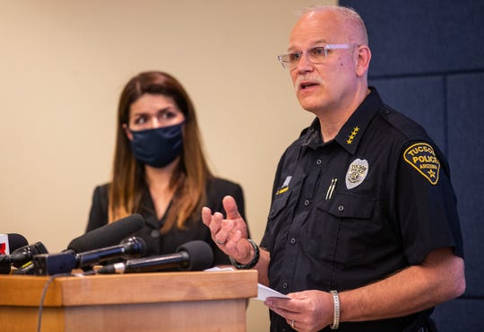Tucson Police Chief Chris Magnus, right, and Mayor Regina Romero during a June 24, 2020 press conference on the April death of Carlos Ingram-Lopez of Tucson. (Photo by Josh Galemore / Arizona Daily Star)