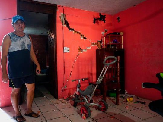 Vista este miércoles de una vivienda afectada debido al sismo de 7,5 de magnitud en la localidad Crucecita, municipio de Huatulco en el estado de Oaxaca.