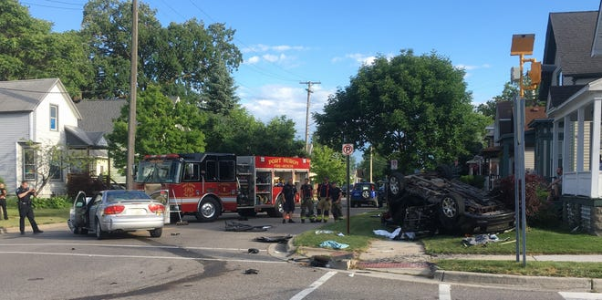 Two people were transported for injuries following a rollover crash Wednesday in Port Huron.