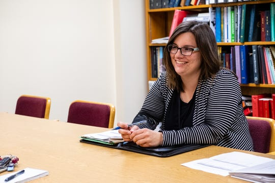 Katy Posey, community development program administrator for the city of Port Huron, listens during an interview Tuesday, June 23, 2020, in the Municipal Office Center in Port Huron.