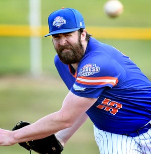 Hallam pitcher Alex Tucci, seen here in a file photo, picked up the win for the Express on Tuesday night in a 4-1 victory over Conrads.