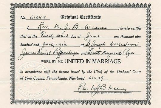 Jim and Loretta Raffensberger marriage certificate dated June 22, 1946.