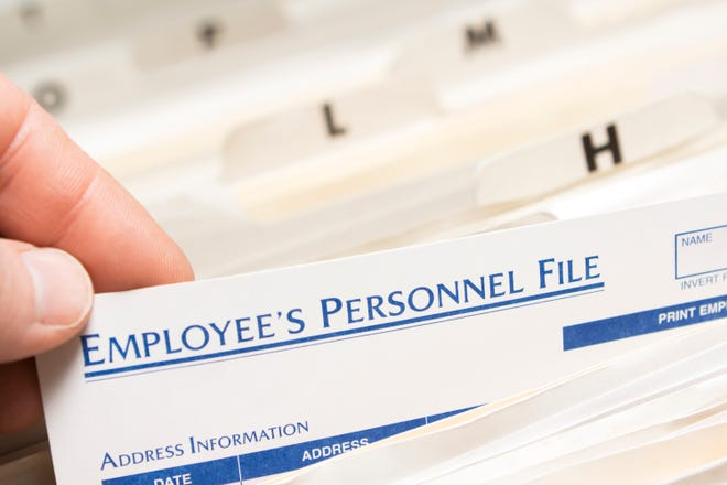 Pulling an employee's personnel file.