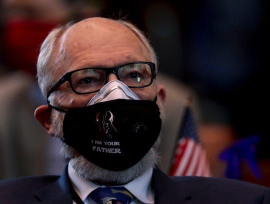 Sen. Arnie Roblan, D-Coos Bay, wears a Star Wars mask during a special session called to address police reform and coronavirus concerns, at the Oregon State Capitol in Salem, Oregon, on Wednesday, June 24, 2020.