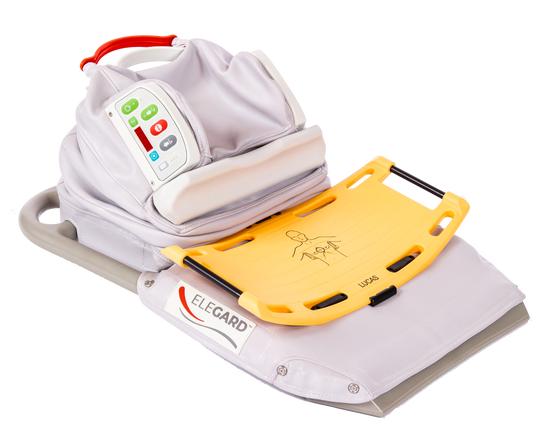 Pictured is an EleGARD Patient Positioning System, which is designed to put cardiac arrest patients into a position to improve resuscitation efforts.