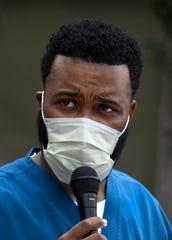 Nicholas Huckaby speaks at the CHRISTUS Shreveport-Bossier Health System Prayer Rally for Racial Justice.