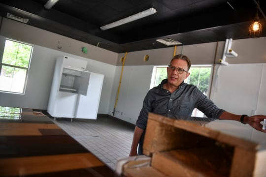 David Boyer talks about plans for the future Jupiter Moon Ice Cream storefront location Tuesday, June 23, 2020, in St. Joseph.