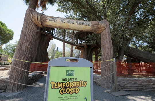 Areas like the Foster Tree House Playground, ropes course and carousel will remain closed as the zoo reopens.