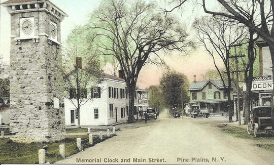 A historic postcard photo of the Memorial Clock Tower in Pine Plains. Dennis Williams is the current caretaker, making sure the clock is in working order and telling the correct time.