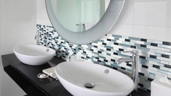 Peel-and-stick tiles make redecorating easy.