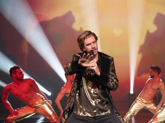 "Dan Stevens brings out his inner song beast in ""Eurovision Song Contest."""