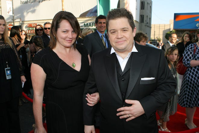 """Patton Oswalt and his late wife, writer Michelle McNamara, at a premiere for the 2007 film """"Ratatouille"""" in Hollywood, Calif."""