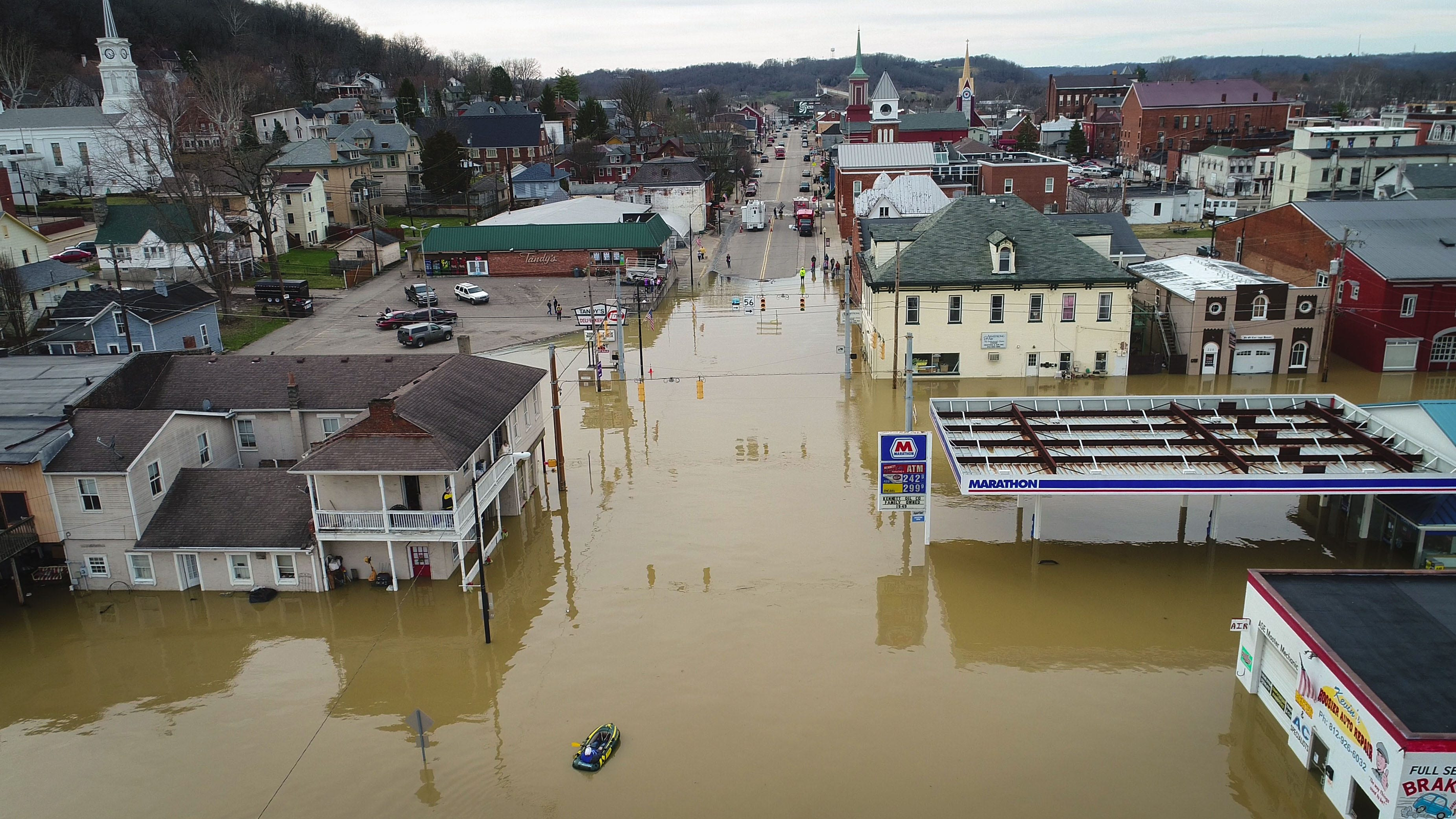 The Ohio River floods downtown Aurora, Indiana on Feb 25, 2018. This has been the most significant Ohio River flooding since 1997.