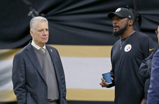 Pittsburgh Steelers owner Art Rooney II and head coach Mike Tomlin before their game against the New Orleans Saints at the Mercedes-Benz Superdome.