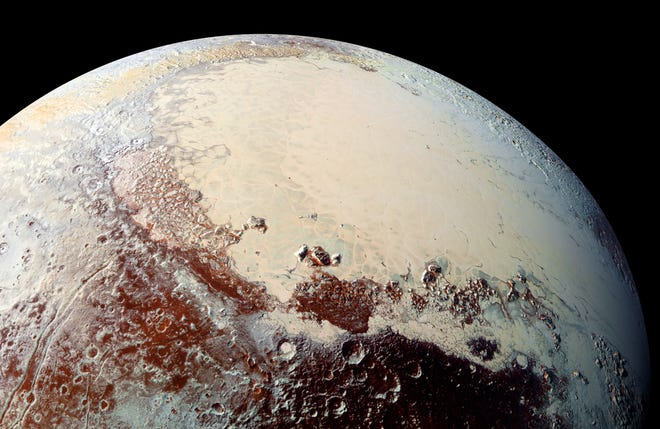 """Sputnik Planitia (the left lobe of Pluto's """"heart"""") is believed to be the outer solar system equivalent of a lunar """"mascon"""" (mass concentration). Like mascons on the moon, Sputnik Planitia is believed to be an impact basin, filled in with lavas (on Pluto, cryogenic ices take the place of lavas)."""