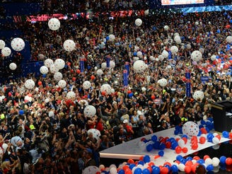 Balloons fall after Donald Trump delivers his acceptance speech during the 2016 Republican National Convention at Quicken Loans Arena in Cleveland, July 21, 2016.