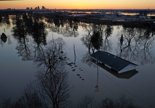 A drone photograph showing a structure submerged by flood waters west of Zorn Ave. and River Road on Feb 26, 2018 in Louisville, KY. Substantial rain has caused severe flooding in the Louisville area.