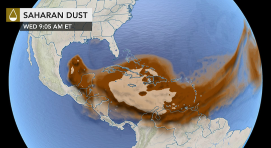 A massive dust cloud from the Sahara Desert is poised to spread over the U.S. Gulf Coast the next few days.