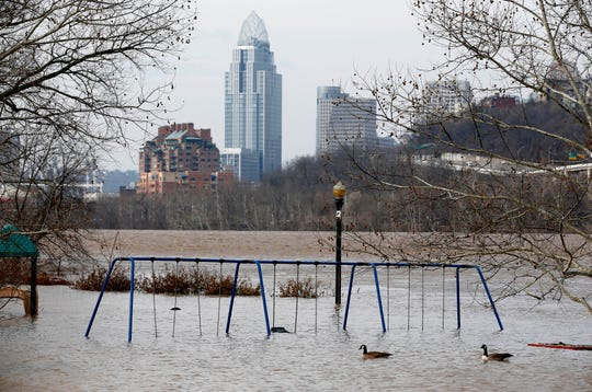 The playground at Bellevue Beach Park is surrounded by floodwaters from the Ohio River on  February 20, 2018 in Bellevue, KY.