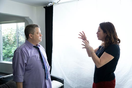 "Comedian Patton Oswalt with ""I'll Be Gone in the Dark"" director Liz Garbus."